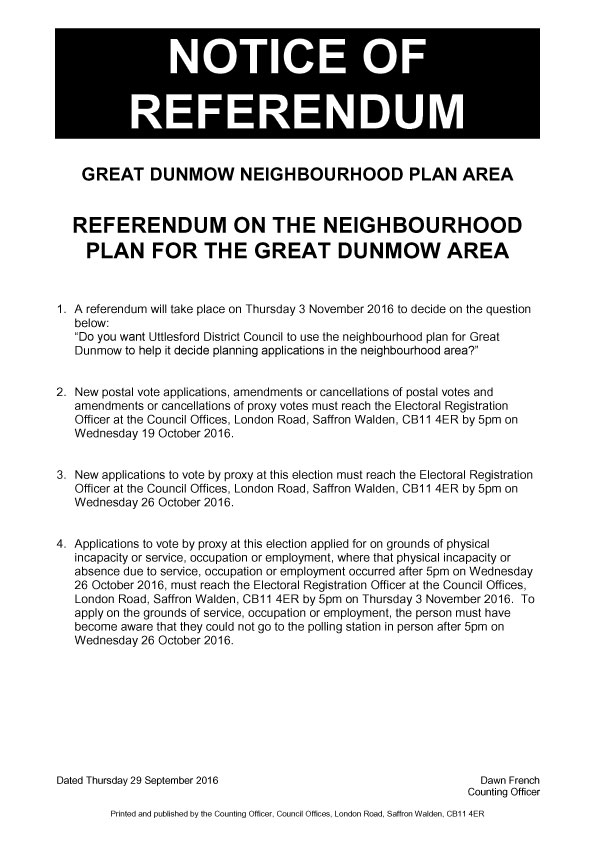 Dunmow Town Council - Notice of Referendum